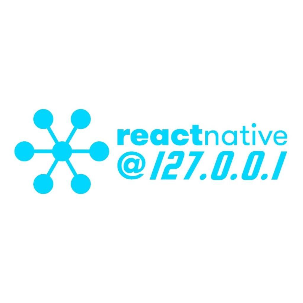 logo azzurro con scritta reactnative @ localhost